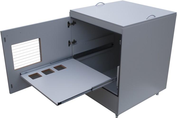 Beheizbarer Druckerschrank ETITHERM für Etikettendrucker inkl. Staubschutz