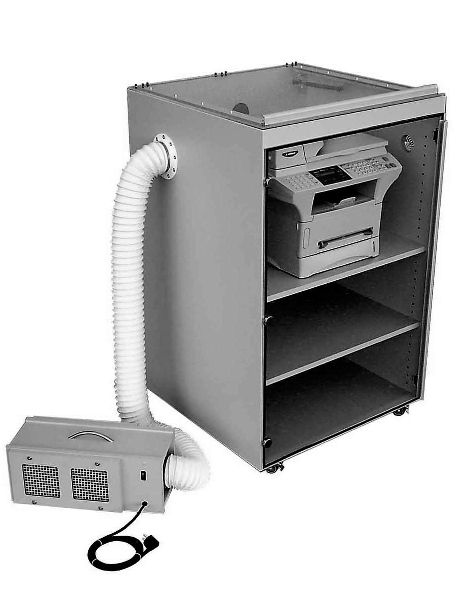 Ozon-Schutzschrank für Laserdrucker 530mm breit und 1300mm hoch